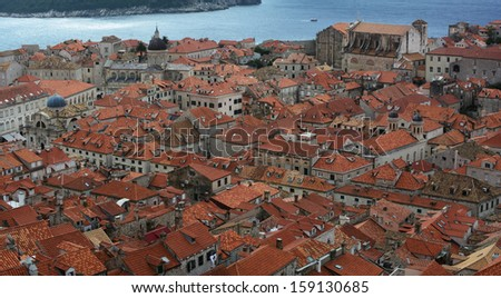 Rooftops in Dubrovnik fortified town, Croatia, Europe - stock photo