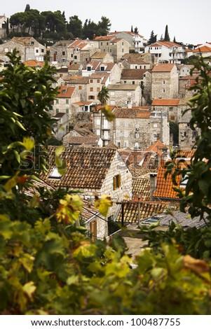Rooftops in Hvar, Croatia - stock photo