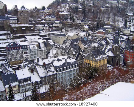 Rooftops in Monschau winter, Germany - stock photo