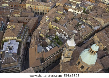 Rooftops of Bologna seen from Asinelli Tower. Italy, Europe - stock photo