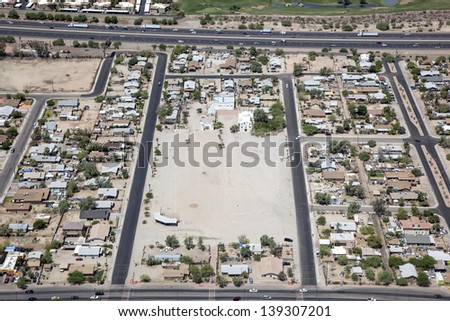 Rooftops of Guadalupe, Arizona east of Interstate 10 near Phoenix - stock photo