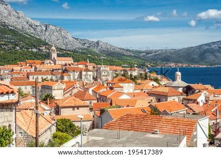 Rooftops of Korcula in Croatia 1 - stock photo