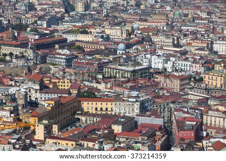 Rooftops of Naples old town, Italy. Aerial view from Castel Sant'Elmo