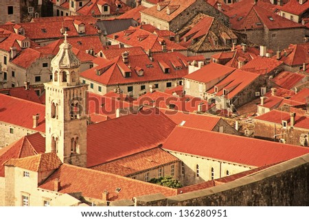 Rooftops of Old Town, Dubrovnik, Croatia - stock photo