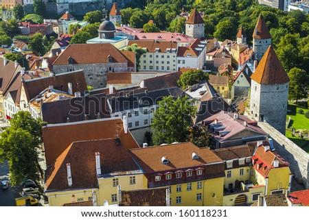 Rooftops of Tallinn, Estonia at the old city. - stock photo