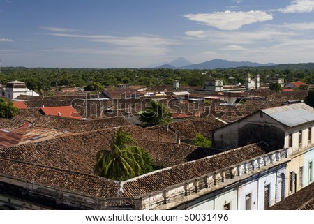 Rooftops of the Colonial Granada in Nicaragua - stock photo