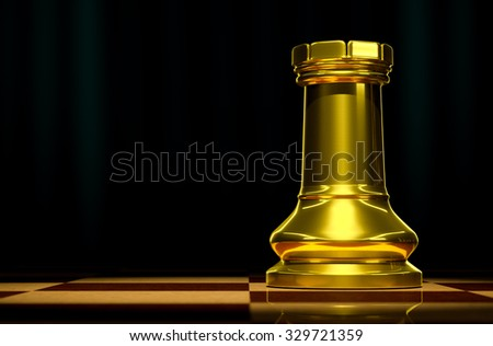 Rook gold on a checkerboard background in luxury. - stock photo