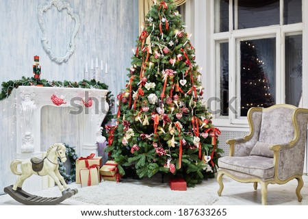 Room decorated to christmas celebration, shot was taken in public rented studio - stock photo