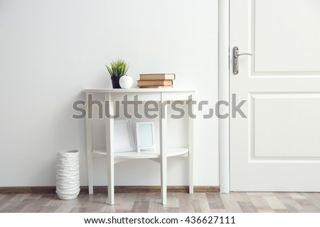 Room design interior with closed door - stock photo