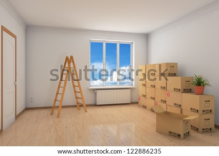 Room during relocation with many moving boxes and ladder - stock photo