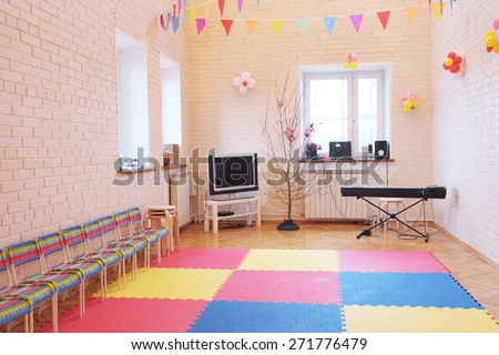 Room for music lessons and singing in the kindergarten.  - stock photo