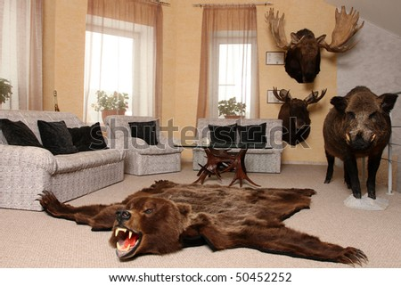 Room for trophies of the hunter. - stock photo