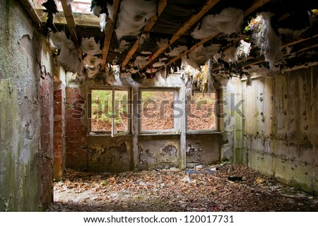 Room in an abandoned house - stock photo