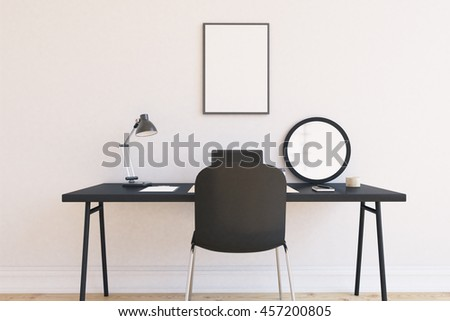 Room in modern house. Lamp, laptop. mirror and folder on black table. Rectangular poster on wall. Concept of contemporary home office. 3d rendering. Mock up - stock photo