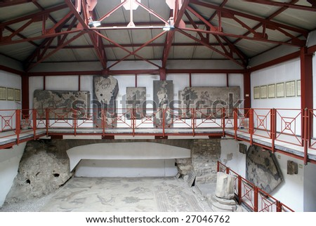 Room in Mosaic museum in Istanbul, Turkey - stock photo