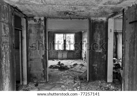 room in prefabricated house in Ghost Town - stock photo