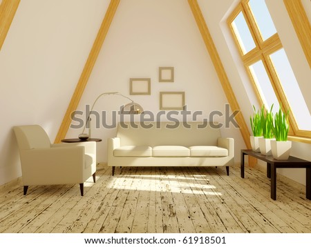 room  in the roof with wood decor - stock photo
