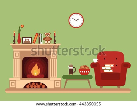 Room Interior Design With Fireplace Chair Books Table Clock In Evening Tea Time