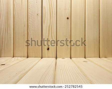 Room Interior from Wooden Planks in Light Tones