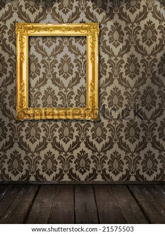 Room interior - ornate frame on the wall, similar available in my portfolio - stock photo