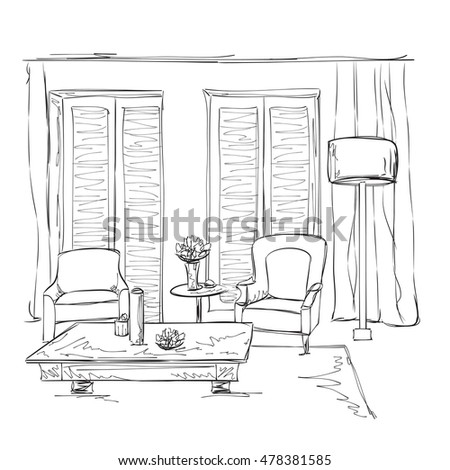 Room interior sketch. Hand drawn furniture. Place for relax