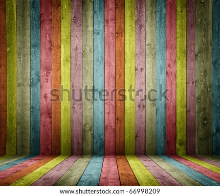 room interior vintage with colorful wooden tiles - stock photo