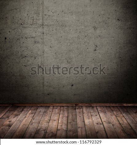 room interior vintage with dark concrete wall - stock photo