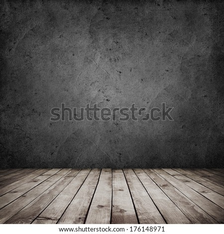 room interior vintage with dark grunge wall and wood floor background - stock photo