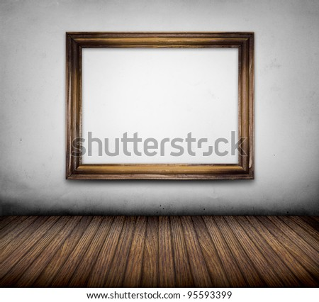 room interior vintage with frame on white wall - stock photo