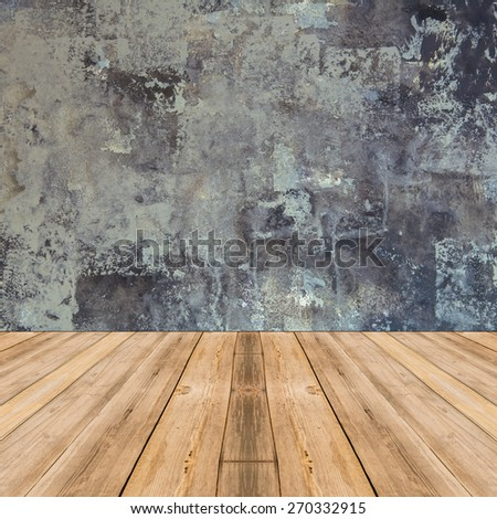 Room interior vintage with gray wall and wood floor background - stock photo
