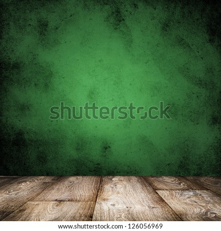 room interior vintage with green grunge wall background - stock photo
