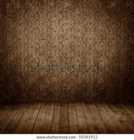 room interior vintage with grunge fabric wall - stock photo