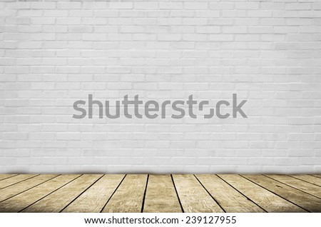 room interior vintage with white brick wall and wood floor backg - stock photo