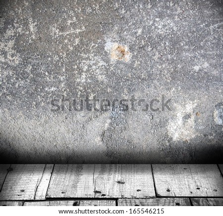Room interior vintage with wood floor and concrete wall