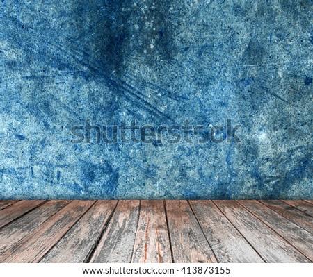 room interior vintage with wood floor background - stock photo