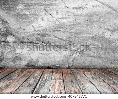 room interior vintage with wood floor background. Interior Design With Old Grunge Wall - stock photo