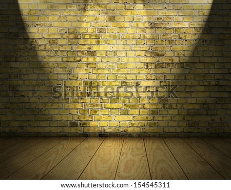 room interior vintage with yellow brick wall and wood floor background and three spots  - stock photo