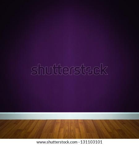 room interior with purple wallpaper - stock photo