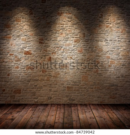 room interior with 3 spots - stock photo