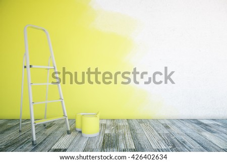 Room Interior Unfinished Yellow Wall Paint Stock Illustration ...