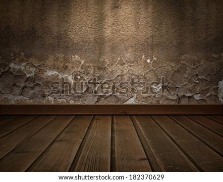 room interior with vintage wall - stock photo