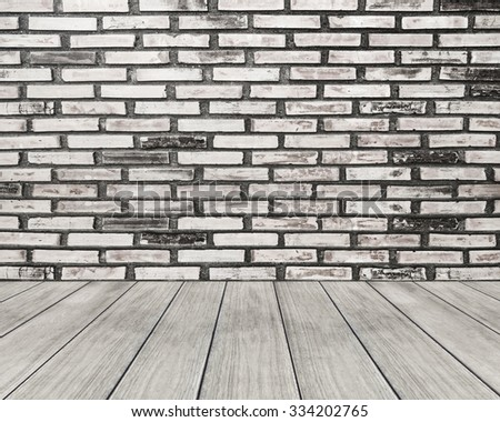 Room interior with white brick wall and wooden floor background - stock photo