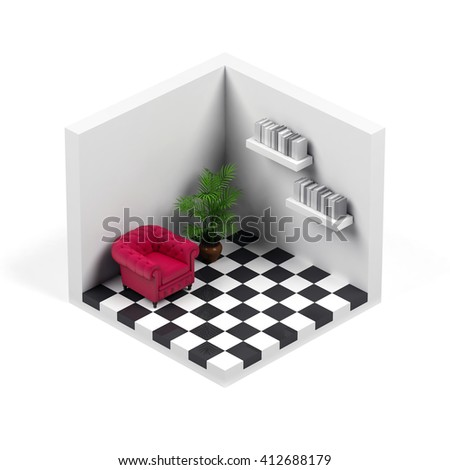 Room isolated on white. 3D rendering image. - stock photo