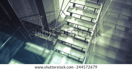 Room. Modern office interior, stairs, clean space in business building - stock photo