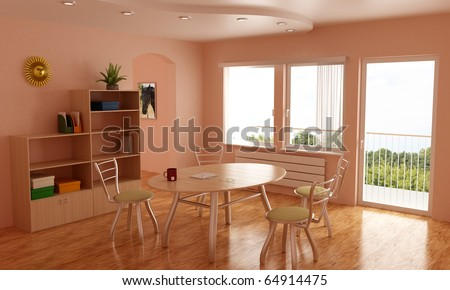 Room, nice interior, with table and chairs, balcony, 3d illustration - stock photo