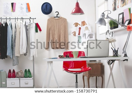 Room of a fashion blogger./ A fashion creative space.  - stock photo