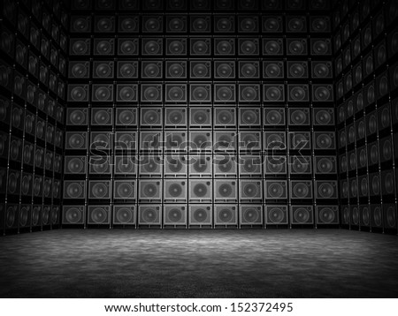 Room of guitar amps - stock photo
