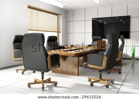 Room of negotiation at office in Verde 3d image - stock photo