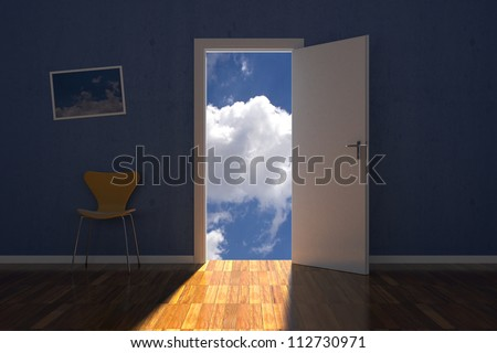 Room on the sky with opened door and chair - stock photo