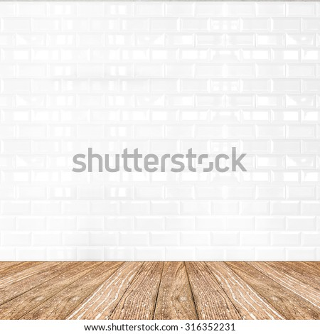 Room perspective,white ceramic tile wall and wooden ground, Mock up template for display of product - stock photo